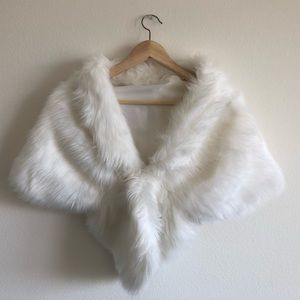 White Bridal Shawl in S faux fur